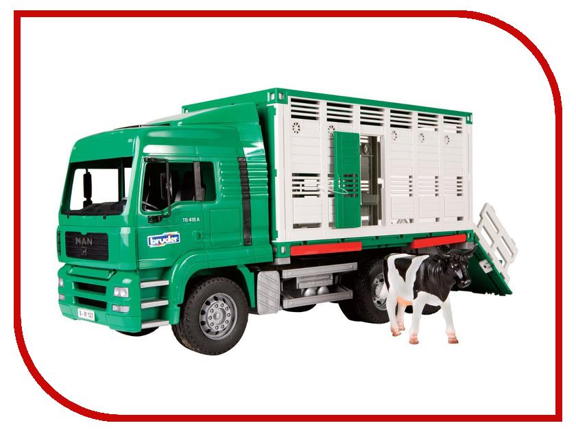 Машина Bruder Фургон MAN для перевозки животных с коровой 02-749 bruder пожарная машина mack