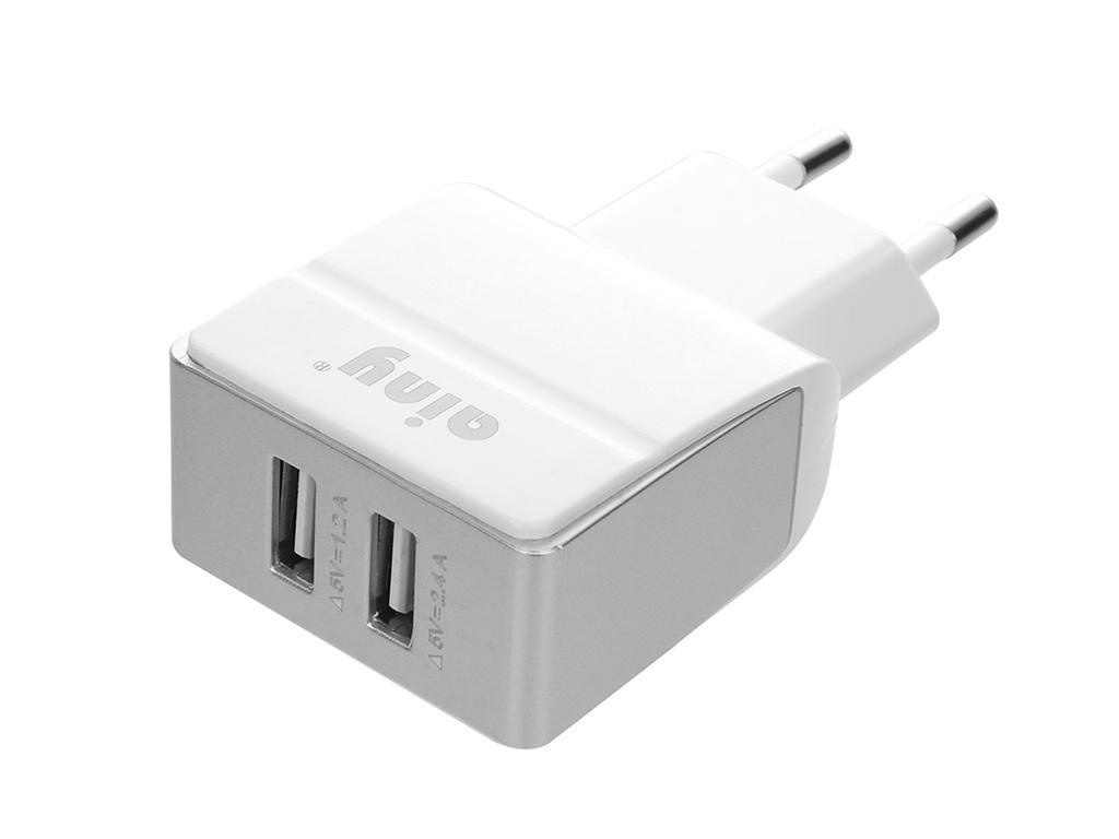 Зарядное устройство Ainy 2xUSB 2.4A EA-036B White зарядное устройство ainy 2xusb 1a 2 4a eb 018a black