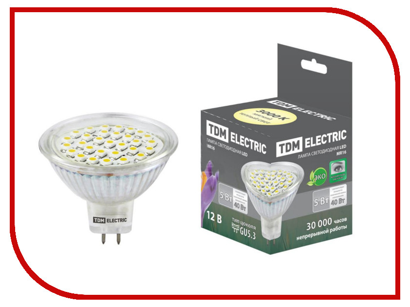 Лампочка TDM-Electric MR16 GU5.3 SMD 5W 12V 3000K SQ0340-0006 светильник tdm electric sq0358 0006 amber