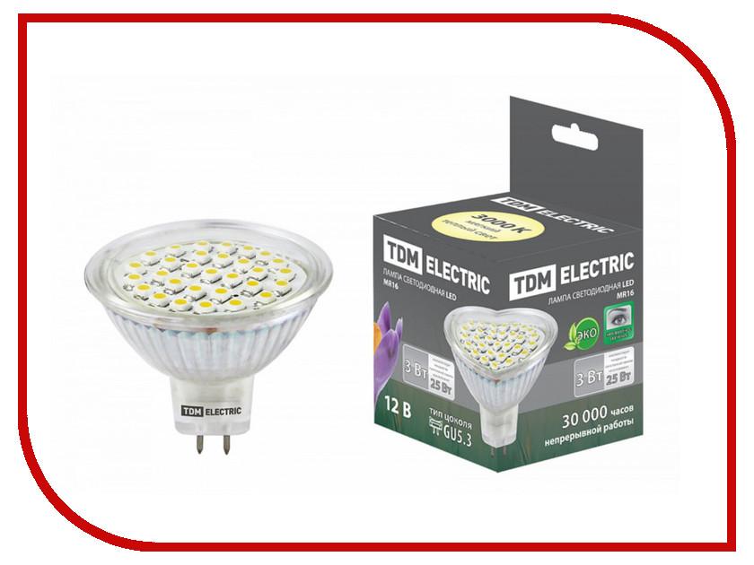 Лампочка TDM-Electric MR16 GU5.3 SMD 3W 12V 3000K SQ0340-0005 лампочка tdm electric r39 4w e14 220v 3000k