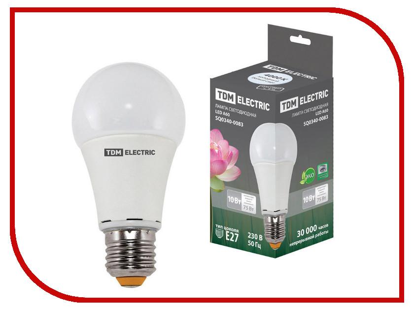 Лампочка TDM-Electric A60 E27 10W 220V 4000K SQ0340-0083 лампочка tdm electric r39 4w e14 220v 3000k