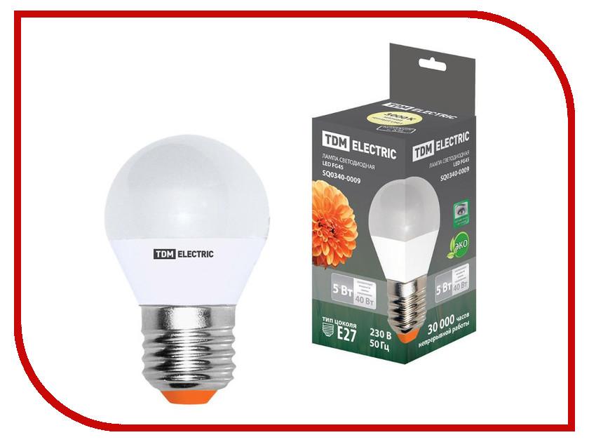 Лампочка TDM-Electric FG45 E27 5W 220V 3000K SQ0340-0009 лампочка tdm electric r39 4w e14 220v 3000k