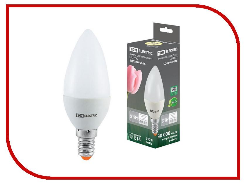 Лампочка TDM-Electric FC37 E14 5W 220V 3000K TDM SQ0340-0016 реле tdm sq0712 0016