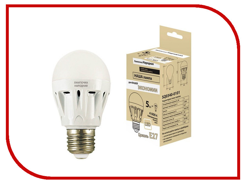 Лампочка TDM-Electric Народная LED A60 E27 5W 4000K (60x105) SQ0340-0101
