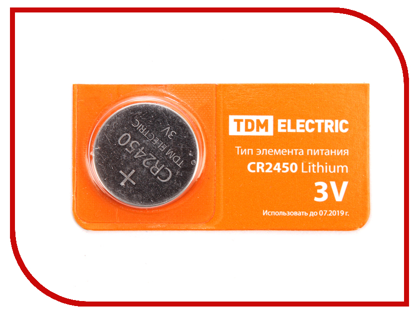 Батарейка CR2450 - TDM-Electric Lithium 3V BP-5 SQ1702-0031 (1 штука)