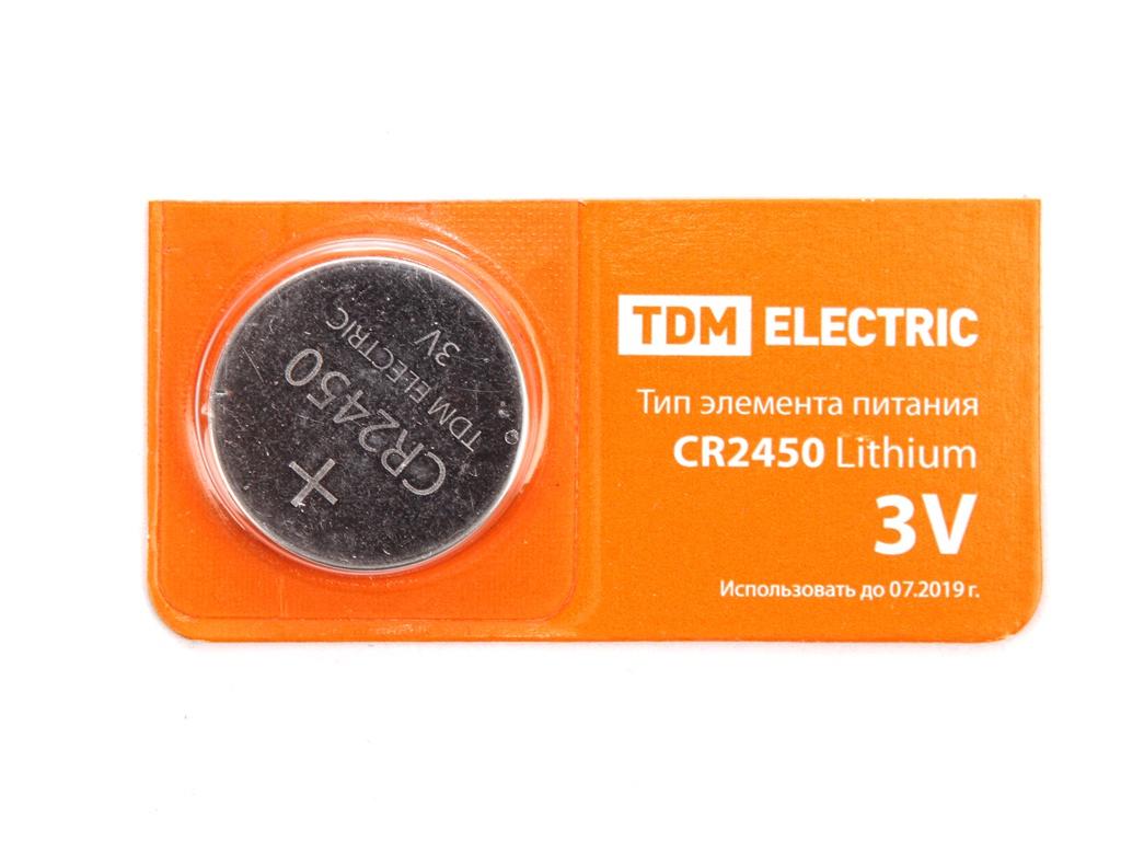 Батарейка CR2450 - TDM-Electric Lithium 3V BP-5 SQ1702-0031 (1 штука)