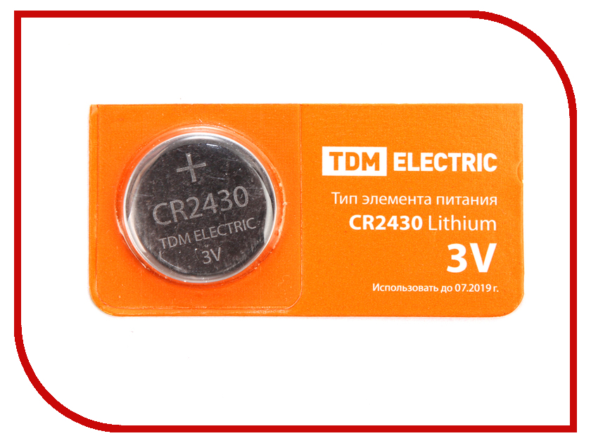 Батарейка CR2430 - TDM-Electric Lithium 3V BP-5 SQ1702-0030 (1 штука)