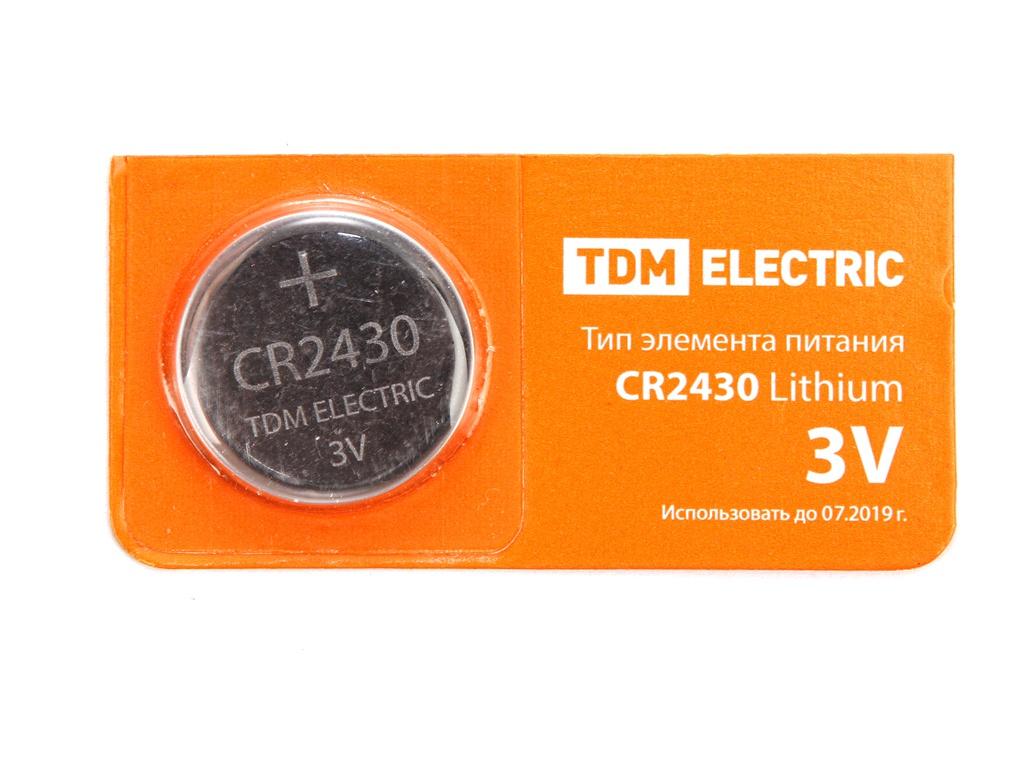 Батарейка CR2430 - TDM-Electric Lithium 3V BP-5 SQ1702-0030 (1 штука)