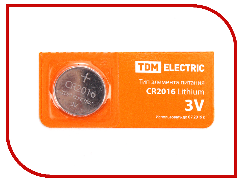Батарейка CR2016 - TDM-Electric Lithium 3V BP-5 SQ1702-0027 (1 штука)