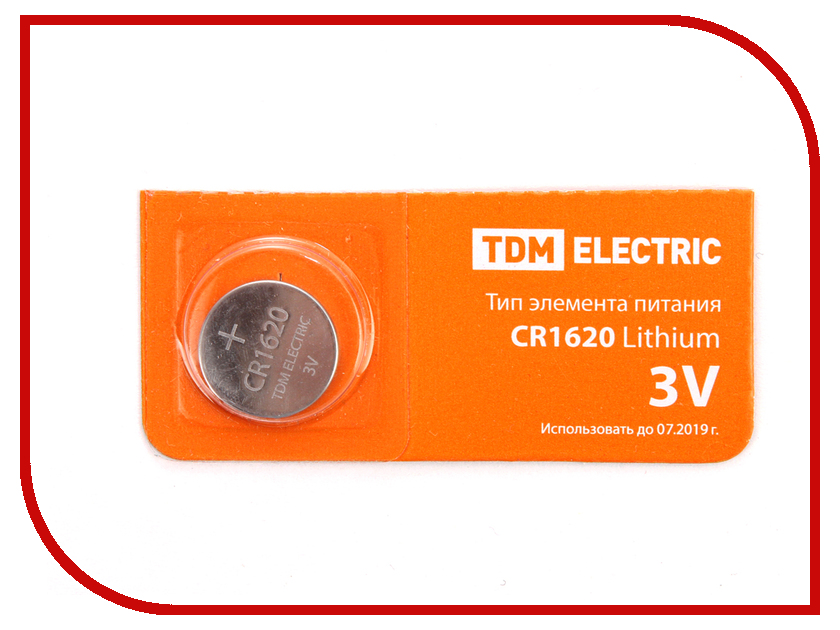 Батарейка CR1620 - TDM-Electric Lithium 3V BP-5 SQ1702-0026 (1 штука)