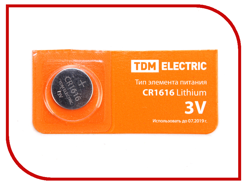 Батарейка CR1616 - TDM-Electric Lithium 3V BP-5 SQ1702-0025 (1 штука)
