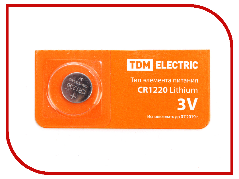 Батарейка CR1220 - TDM-Electric Lithium 3V BP-5 SQ1702-0024 (1 штука) molto 7994 каталка автомобиль спортивный вихрь