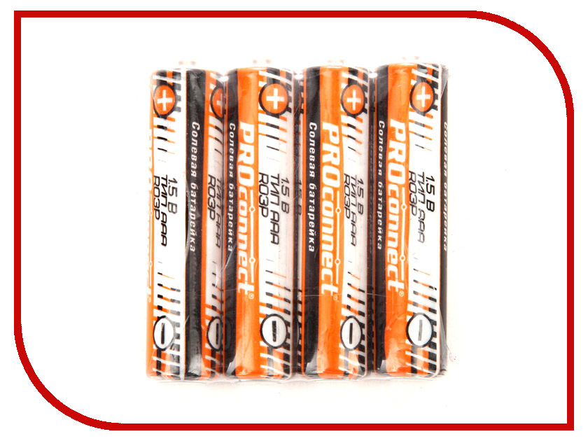 Батарейка AAA - ProConnect R03P 30-0020 (4 штуки) батарейка aa proconnect r6p 30 0010 4 штуки