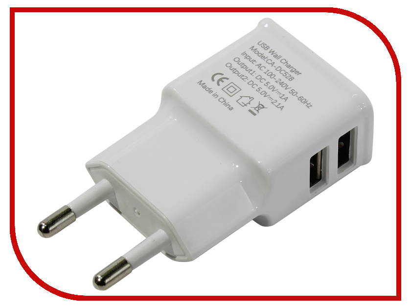 Зарядное устройство VCOM CA-DC528 2xUSB 2.1A / 1.0A<br>