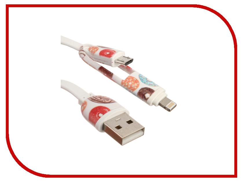 Аксессуар IQ Format Пончики Micro USB - Lightning White<br>