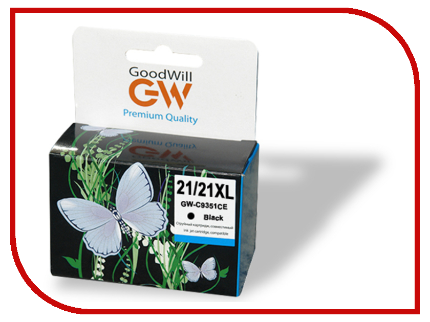 Картридж GoodWill GW-C9351CE №21/21XL Black для HP DeskJet 3920/3930/1360/1460/1470/1560/2330/2360/2430/2460/F370/F375/F2180/F4140 Compatible