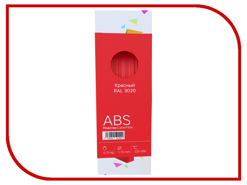 Аксессуар CyberFiber ABS-пластик 1.75mm Red 750гр аксессуар cyberfiber abs пластик 1 75mm red 750гр
