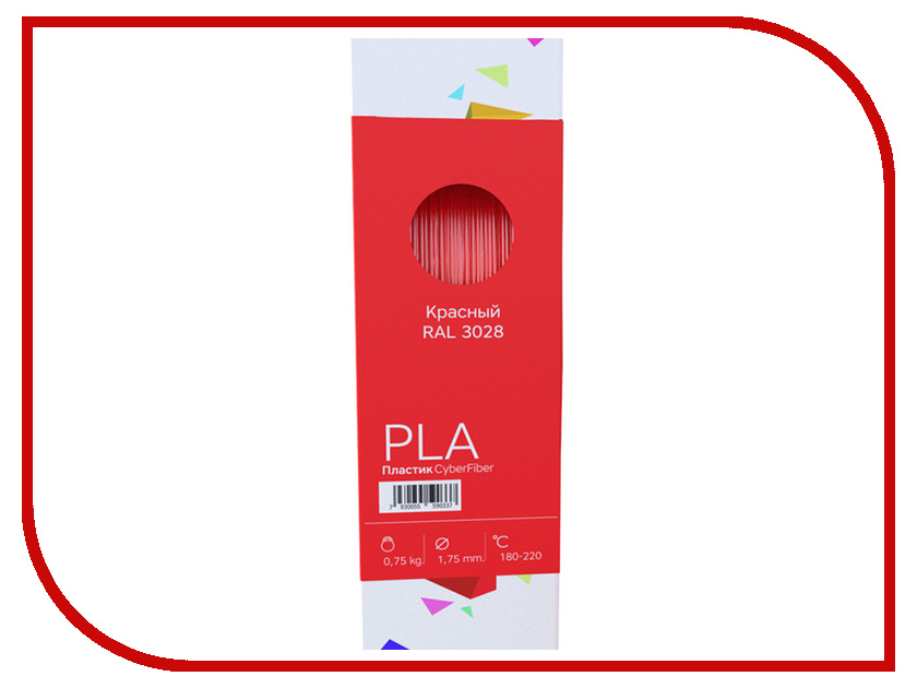 Аксессуар CyberFiber PLA-пластик 1.75mm Red 750гр