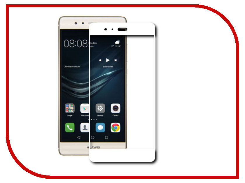 Аксессуар Защитное стекло Huawei P9 BROSCO Full Screen White HW-P9-3D-GLASS-WHITE