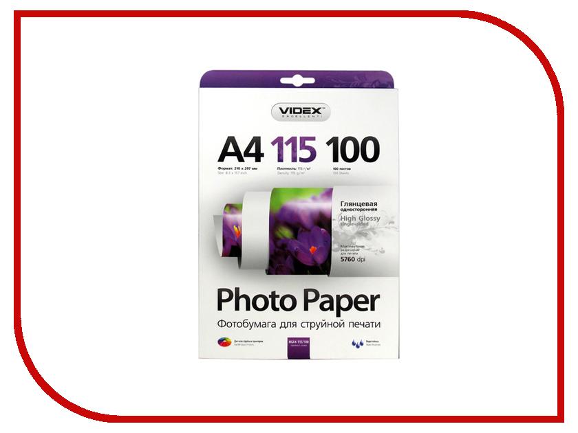 Фотобумага Videx HGA4-115/100 A4 115g/m2 глянцевая 100 листов