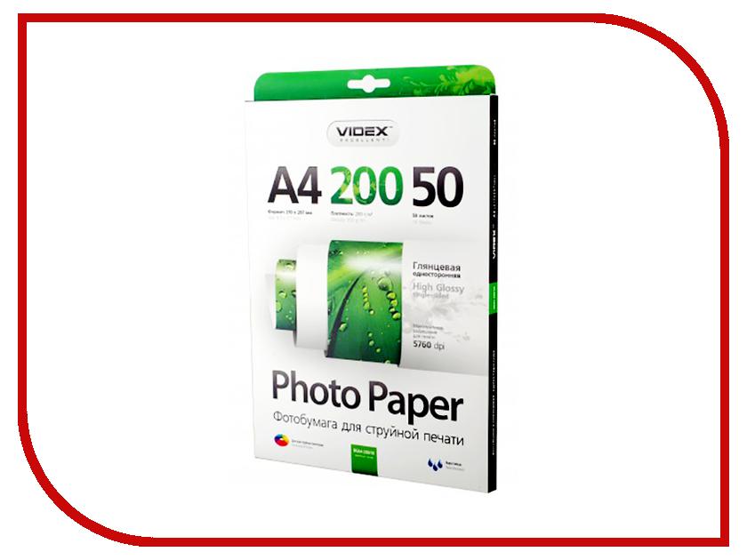 Фотобумага Videx HGA4-200/50 A4 200g/m2 глянцевая 50 листов зарядное устройство videx