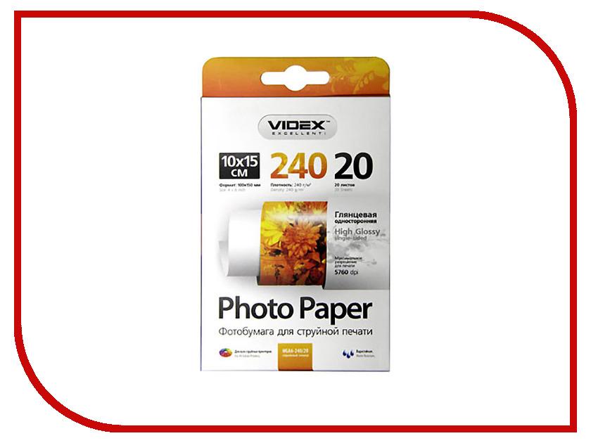 Фотобумага Videx HGA6-240/20 10x15 240g/m2 глянцевая 20 листов tango водостойкийая фотобумага замшевый 20 листов