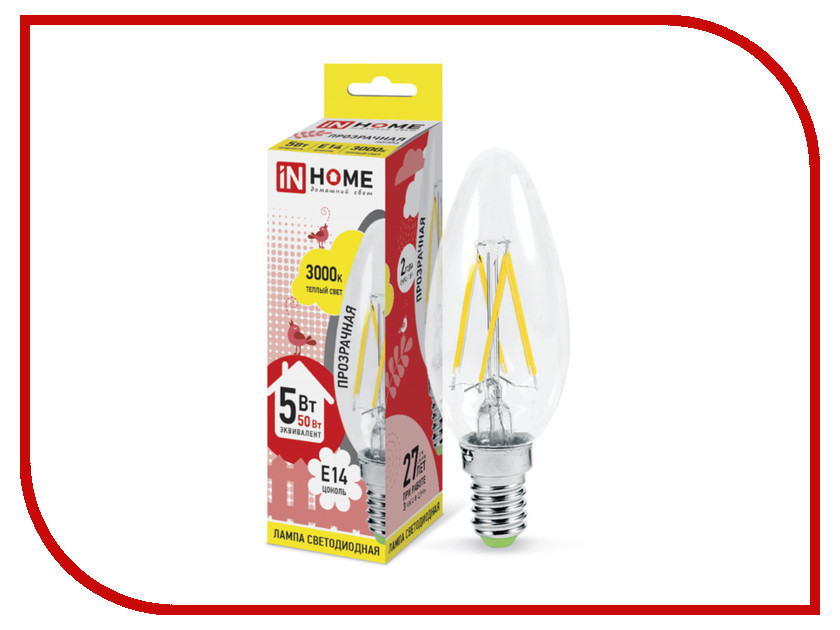 Лампочка IN HOME LED-СВЕЧА-deco 5W 230V E14 3000K 450Lm Clear 4690612007564 deco home вешалка
