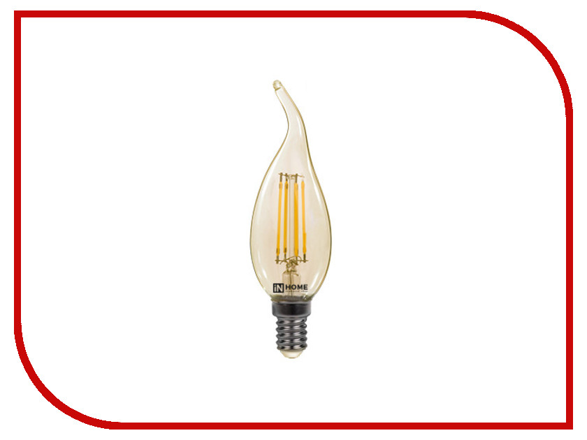 Лампочка IN HOME LED-СВЕЧА НА ВЕТРУ-deco 7W 230V E14 3000K 630Lm Gold 4690612007526 deco home вешалка