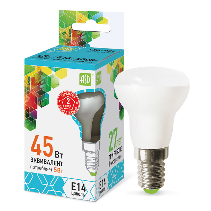 Лампочка ASD LED-R39-standard E14 5W 230V 4000K 450Lm 4690612006703