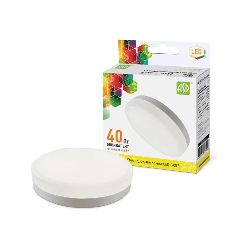 Лампочка ASD LED-GX53-standard 4.2W 230V 3000K 380Lm 4690612005058