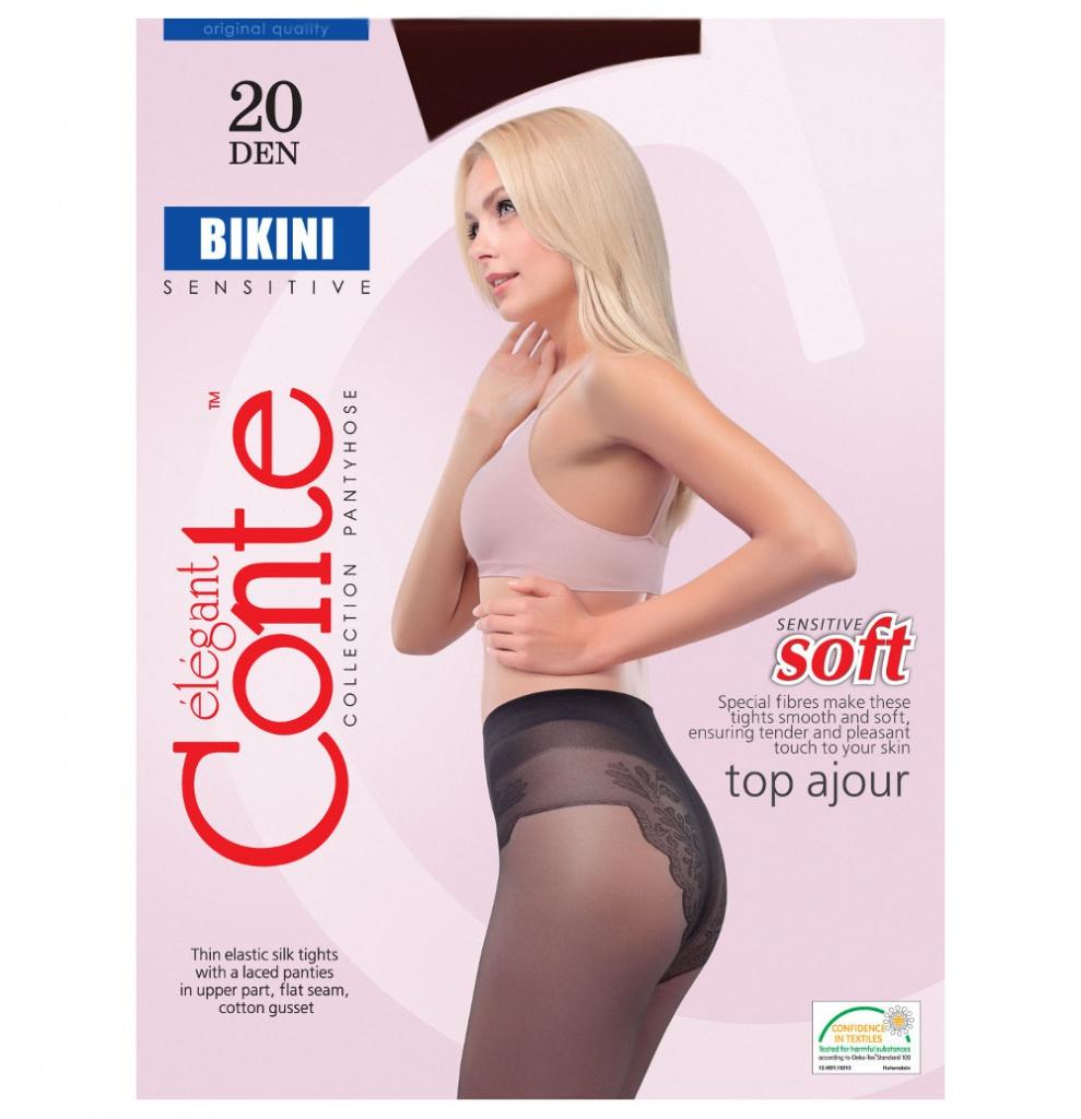 Колготки Conte Bikini размер 4 плотность 20 Den Nero floral tassel halter neck bikini set
