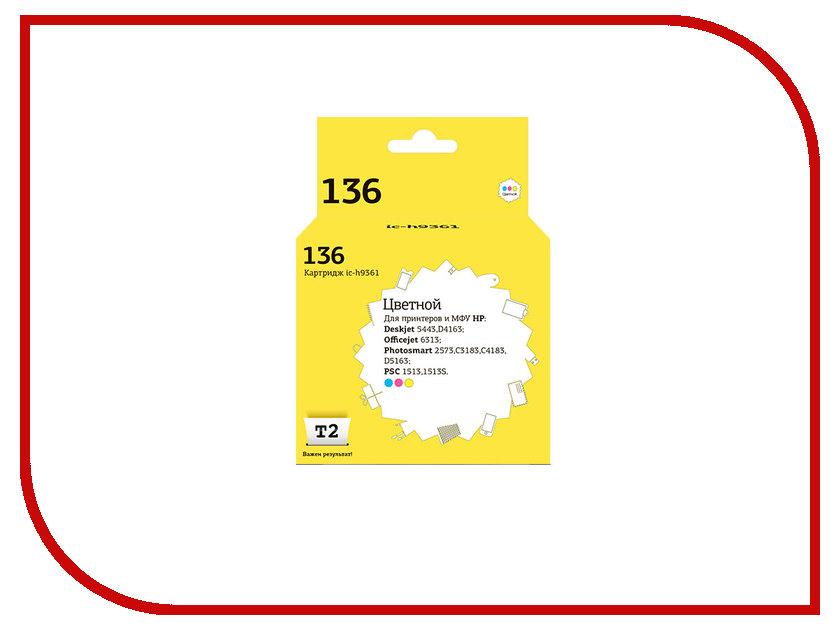 Картридж T2 IC-H9361 №136 Multicolor для HP Deskjet 5443/D4163/Photosmart 2573/C3183/C4183/D5163/PSC 1513/1513S/Officejet 6313 картридж hp c9502ae 56 multipack для designjet officejet psc photosmart двойная упаковка черный