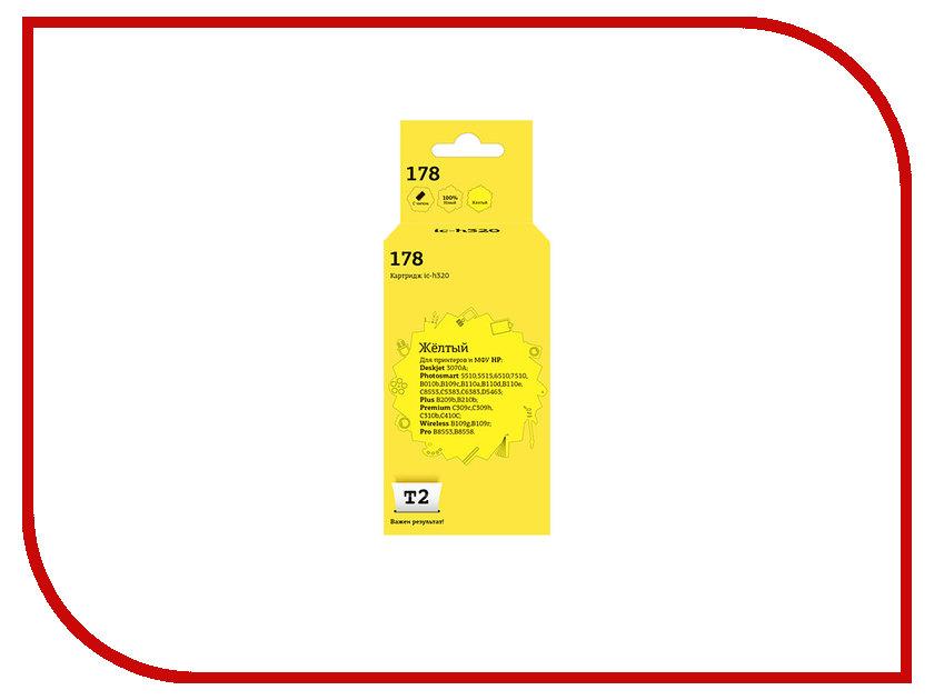 все цены на  Картридж T2 IC-H320 №178 Yellow для HP Deskjet 3070A/Photosmart 5510/5515/6510/7510/B010b/B109c/B110a/B110d/B110e/C8553/C5383/C6383/D5463/Plus B209b/B210b/Premium C309c/C309h/C310b/C410C/Wireless B109g/B109r/Pro B8553/8558 с чипом  онлайн