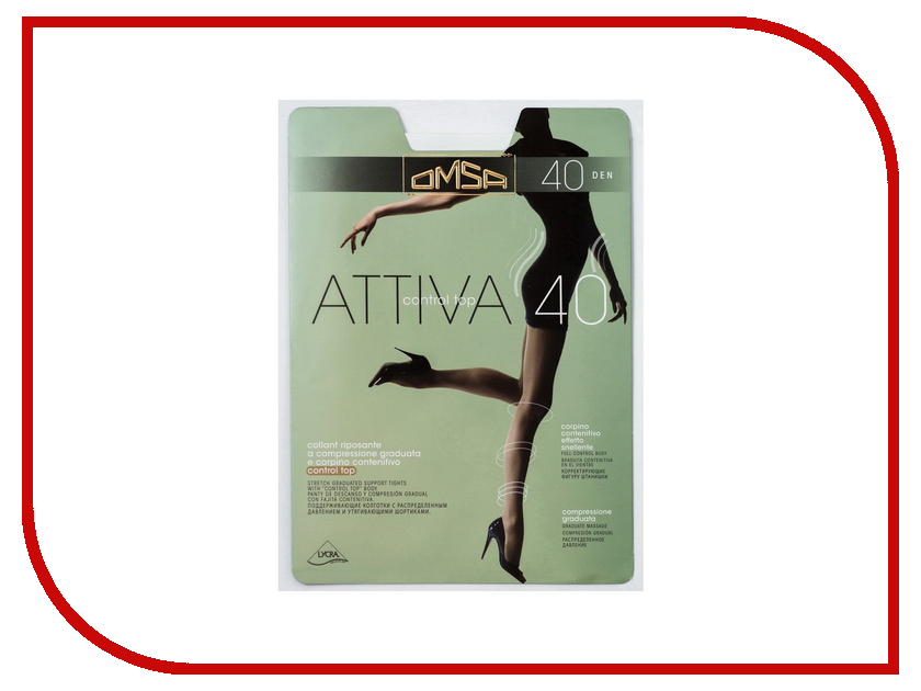 Колготки OMSA Attiva Control Top размер 4 плотность 40 Den Nero attiva control top omsa