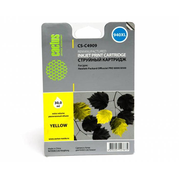 Картридж Cactus CS-C4909 №940 Yellow для HP DJ Pro 8000/8500 cactus cs c4909 940 yellow картридж струйный для hp dj pro 8000 8500