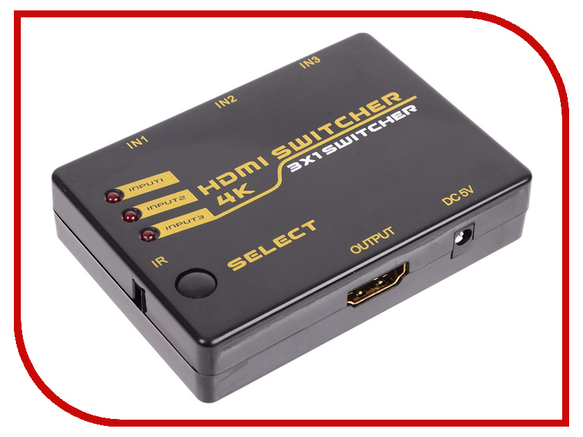 Сплиттер Orient HDMI 4K Switch HS0301H luxury interruptor cristal remote control switch smart home 2 gang 1 way touch switch black glass panel wall switch zuczug