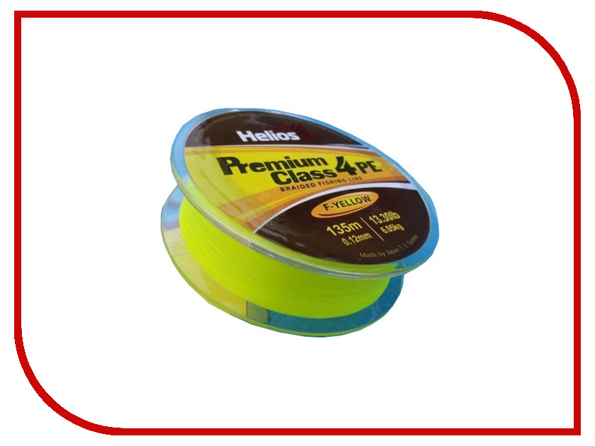 Шнур плетёный Helios Premium Class 4 PE Braid 0.12mm 135m Fluorescent Yellow HS-4PFY-12/135 Y