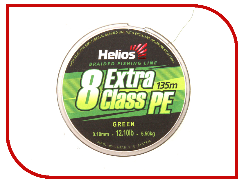 Шнур плетёный Helios Extra Class 8 PE Braid 0.10mm 135m Green HS-8PEG-10/135 G
