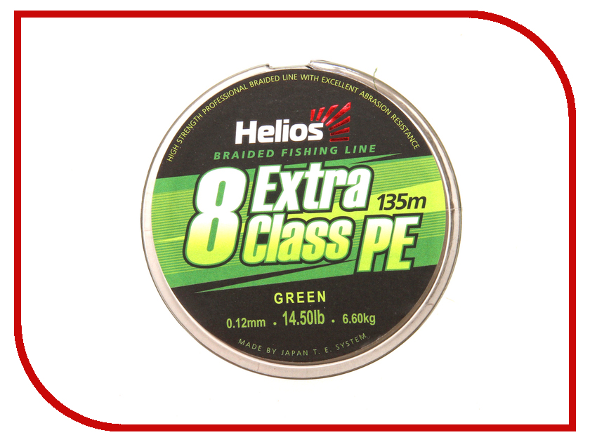 Шнур плетёный Helios Extra Class 8 PE Braid 0.12mm 135m Green HS-8PEG-12/135 G
