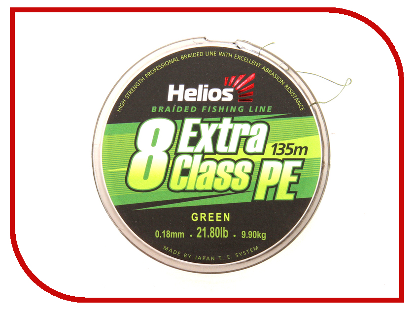 Шнур плетёный Helios Extra Class 8 PE Braid 0.18mm 135m Green HS-8PEG-18/135 G