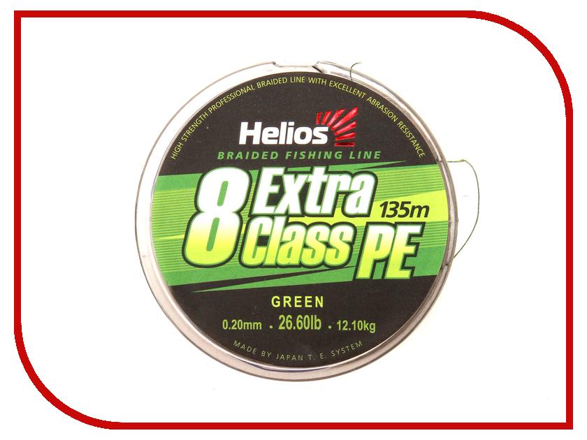 Шнур плетёный Helios Extra Class 8 PE Braid 0.20mm 135m Green HS-8PEG-20/135 G спиннинг helios samurai spin 270mh 2 7m 2sec 10 35g hs ss 270mh
