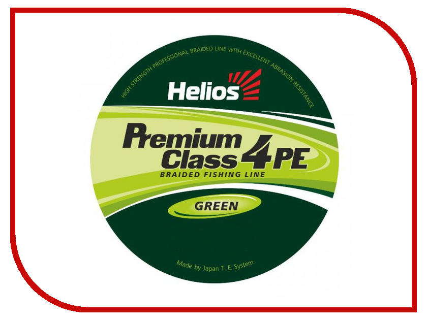 Шнур плетёный Helios Premium Class 4 PE Braid 0.20mm 92m Green HS-4PFG-20/92 G