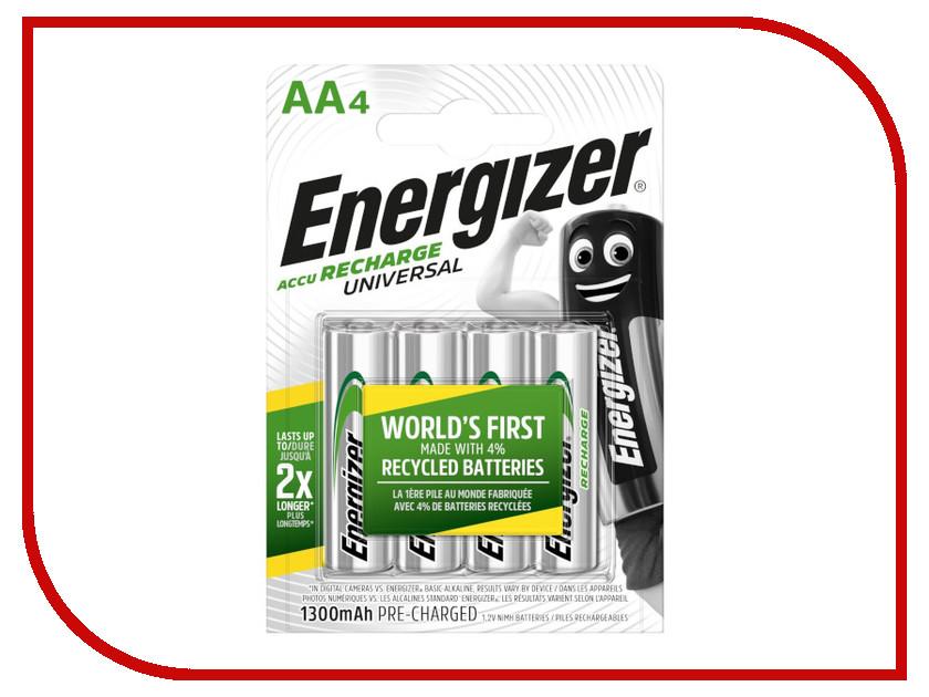 Аккумулятор AA - Energizer Rech Universal 1300 mAh Ni-MH (4 штуки) gp 2550mah rechargeable ni mh aa battery green golden 4 pcs