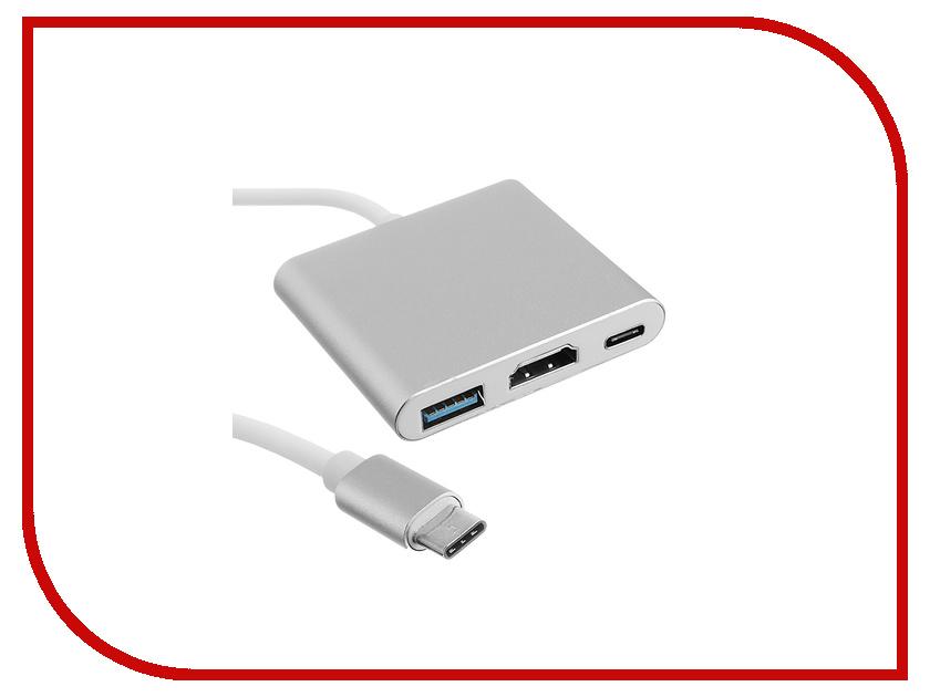 Адаптер Palmexx USB C-HDMI-USB 3.1-USB C PX/HUB-USBC-HDMI-USB Silver it ceo usb3 0 splitter type c to hdmi конвертер высокого разрешения usb c адаптер apple macbook pro док станция hub hub gold y2type c uht