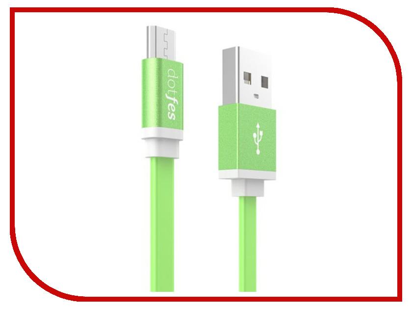 Аксессуар Dotfes USB - Micro USB A05M 2.5A 1m Green 14647 аксессуар dotfes microusb a09m self rolling 0 8m grey 14769