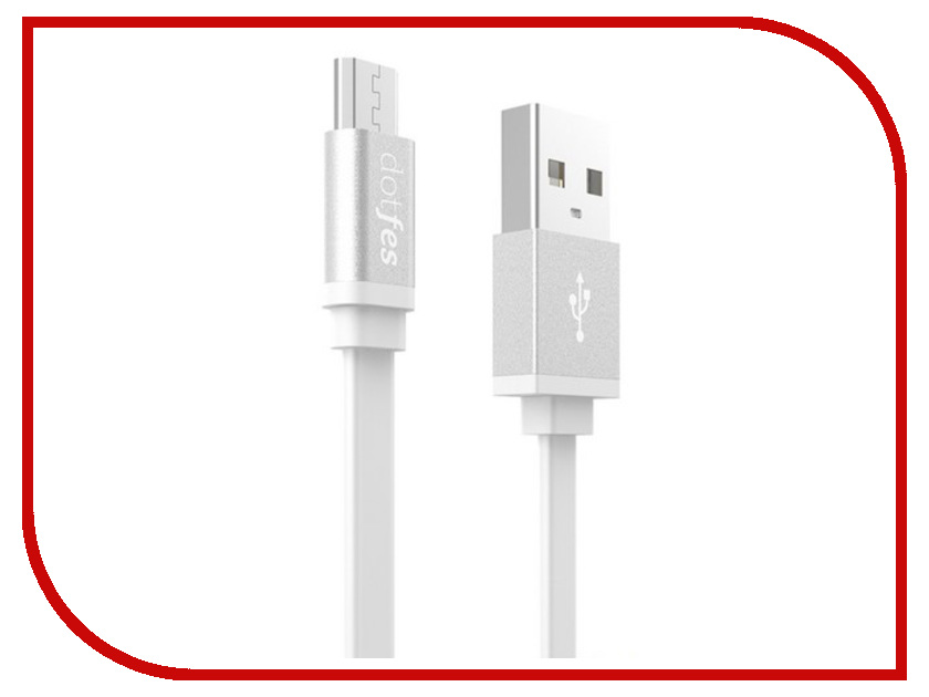 Аксессуар Dotfes USB - Micro USB A05M 2.5A 1m White 14648 аксессуар dotfes microusb a09m self rolling 0 8m grey 14769