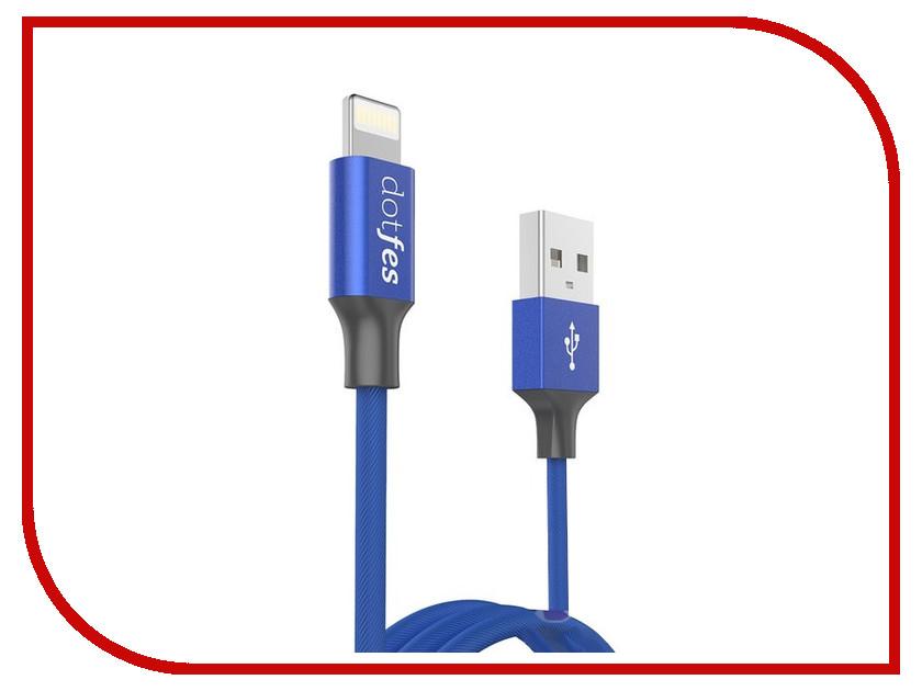 Аксессуар Dotfes USB - Lightning A01 2.5A 1m Blue 14609 зарядное устройство dotfes b03s 2xusb 4 8a lightning gold 03179