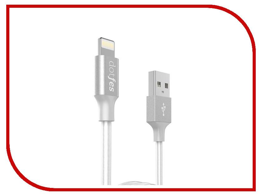 Аксессуар Dotfes USB - Lightning A03 2.5A 1m White 14615 аксессуар dotfes microusb a09m self rolling 0 8m grey 14769