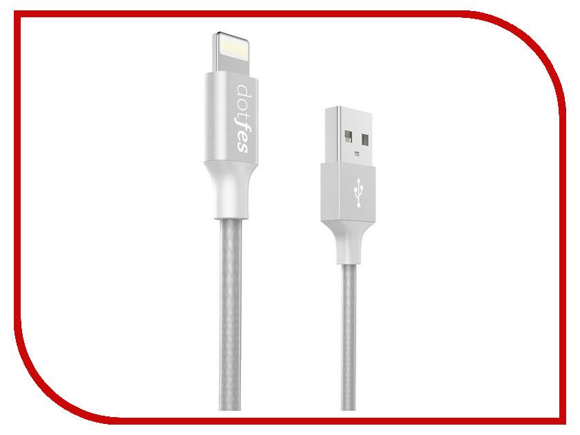Аксессуар Dotfes USB - Lightning MFI A03F 2.5A 1m Grey 14604 зарядное устройство dotfes b03s 2xusb 4 8a lightning gold 03179
