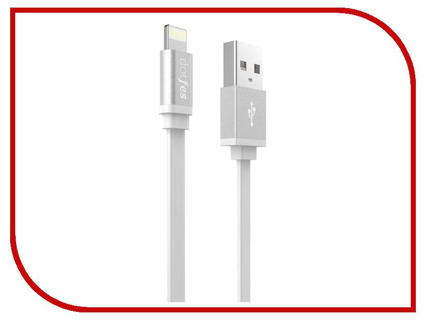 Аксессуар Dotfes USB - Lightning A05 2.5A 1m White 14625 аксессуар dotfes microusb a09m self rolling 0 8m grey 14769
